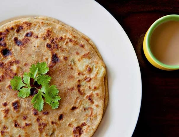 Varanasi Hostel Vegan Breakfast Aaloo Paratha