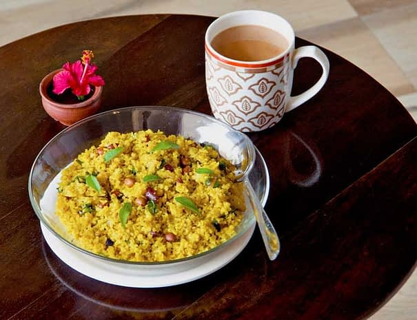 Varanasi Hostel Vegetarian Breakfast Poha