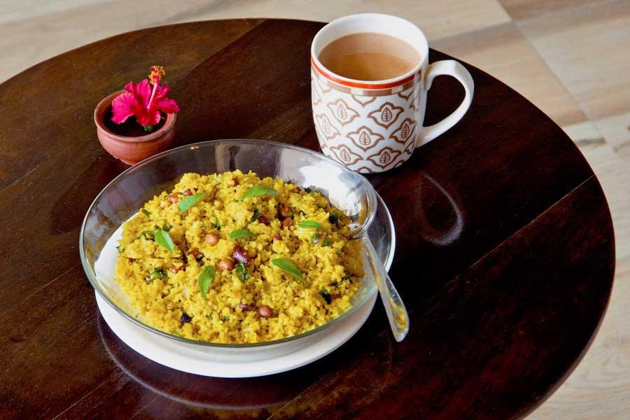 Varanasi Hostel Vegetarian Breakfast Poha