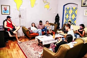 Guests Chilling in the Common Room at Varanasi Hostel ITH